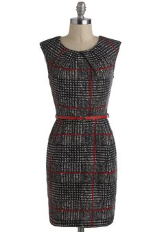Cross the Byline Dress - Black, Red, Belted, Work, Sheath / Shift, Sleeveless, Mid-length, Checkered / Gingham, Pockets, Vintage Inspired, 60s, Winter