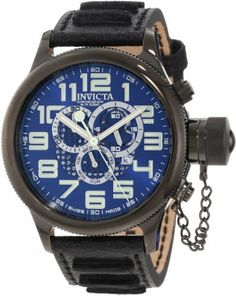Invicta Men's 10557 Russian Diver Chronograph Blue Sunray Dial Watch Invicta. $179.99. Water-resistant to 100 M (330 feet). Swiss quartz movement. Chronograph functions with 60 second, 30 minute and day of the week subdials; date function at 4:00. Mineral crystal; black ion-plated stainless steel case; black leather strap. Blue sunray dial with silver tone hands and arabic numerals; luminous; secured screw-down protective cap on crown