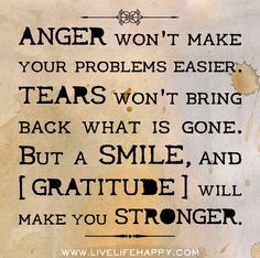 Anger won't make your problems easier. Tears won't bring back what is gone. But a smile, and gratitude will make you stronger. by deeplifequotes, via Flickr