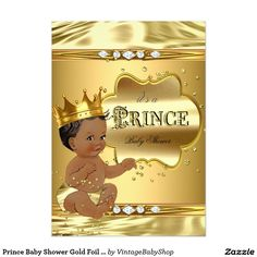 Prince Baby Shower Gold Foil Ethnic Baby Boy 5x7 Paper Invitation Card