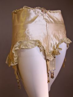 1920's IVY Slipper Satin Garter Betl with Valenciennes Lace, laces up the back