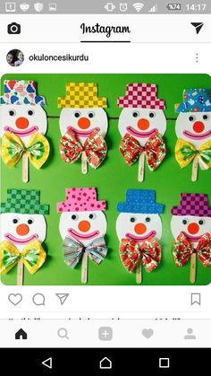 This Pin was discovered by Adr Clown Crafts, Circus Crafts, Carnival Crafts, Kids Carnival, Toilet Paper Roll Crafts, Paper Crafts, Diy For Kids, Crafts For Kids, Diy And Crafts