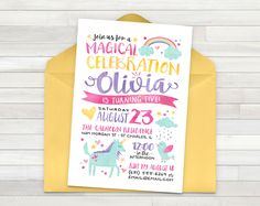 Rainbow Unicorn Birthday Invitation, Unicorn Invitation, Birthday Invitation, Unicorn Birthday Invitation, Unicorn Party - Printable by PricklyPress on Etsy https://www.etsy.com/listing/398413211/rainbow-unicorn-birthday-invitation