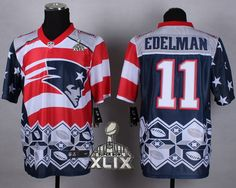 New England Patriots  11 Julian Edelman 2015 Super Bowl XLIX Noble Fashion  Elite Jersey New 84722b1d7