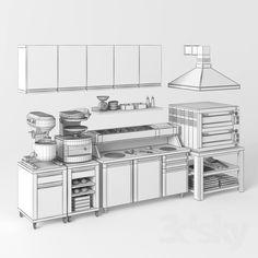 models: Restaurant - Equipment for pizzeria Restaurant Kitchen Equipment, Restaurant Kitchen Design, Commercial Kitchen Design, Commercial Kitchen Equipment, Bar Design, Coffee Shop Design, Baking Storage, Architecture Restaurant, Bakery Display