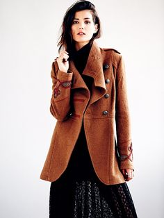 Military Style Wool Coat  - Free People Clothing Boutique