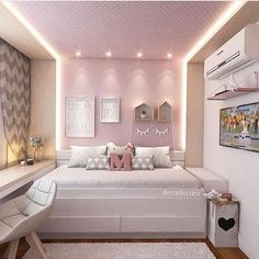 Meu povo como a iluminação transforma o ambiente não? Apaixonado por esse quarto! Marquem as mamães. Via: @decoreinteriores. Projeto: