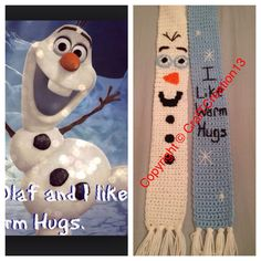 Frozen's Olaf and Quote inspired Scarf by CrafTCreation13 on Etsy