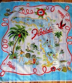 Florida state map in blue [handkerchief / scarf]