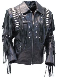 Real leather jacket with genuine bone beading and fringe for men. A Jamin Leather exclusive black leather jacket in a western style with a soft nylon lining, braided rope trim, zip front pockets, inside chest pocket and decorated with nail head studs. Mens Leather Coats, Suede Leather, Black Leather, Leather Jackets, Real Leather, Biker Jackets, Custom Leather, Brown Suede Jacket, Fringe Leather Jacket