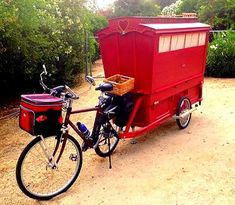 A Very Cute Very Tiny Gypsy Wagon You Can Tow With Your Bicycle.  Barry Howard is very familiar with good ideas. He's had lots of them and this micro mini Gypsy inspired wagon he now pulls with his bicycle is his latest.