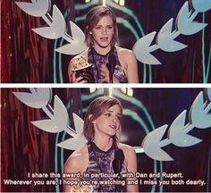 "Emma: ""I share this award, in paticular, with Dan and Rupert. Wh........"""