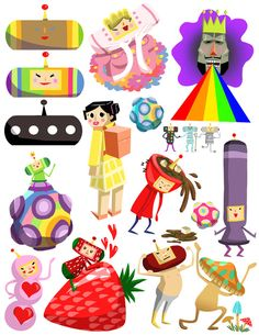 Stickers based on the game Katamari Damacy and its sequels! With these stickers stuck to all of your possesions, you may truly feel the cosmos...  Printed on 8 1/2 x 11 sticker paper  Cut the stickers out carefully with scissors and then peel!