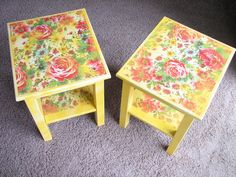 Pair of Colorful Upcycled Shabby Chic Side Tables / Nightstands / Accent Tables. $145.00, via Etsy.