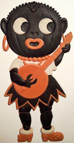 Vintage Halloween German Diecut Black Pumpkin Lady with Banjo Retro Halloween, Halloween 2018, Holidays Halloween, Spooky Halloween, Halloween Treats, Happy Halloween, Halloween Pumpkins, Halloween Lanterns, Vintage Halloween Decorations