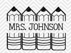 Back to School Teacher Pencil Name Tag Monogram SVG file - Cut File - Cricut projects - cricut ideas - cricut explore - silhouette cameo projects - Silhouette projects  by KristinAmandaDesigns