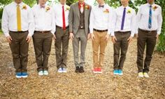 awesome how the shoes and ties on each of the groomsmen match the bridesmaids dresses