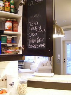 Great idea....chalkboard paint on the back of one of your cabinet doors. Or on the back of the pantry door.