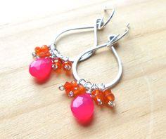 Hot pink and Orange Silver Gemstone Earrings by DianeMabrey