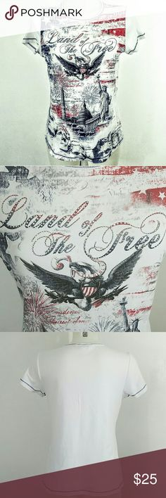 """?? """"Land of the Free"""" America T-shirt ?? Christopher & Banks America 4th of July T-shirt. The Top is in excellent condition. Size small.  Bust 34"""" Length 24"""" 100% Cotton Christopher & Banks Tops Tees - Short Sleeve"""