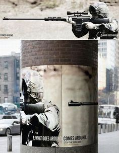 Great Great placement for this, Anti War poster, such a simple and great concept nicely executed