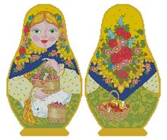 Counted Cross Stitch Russian Doll Matreshka Summer, two-sided design