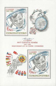 Bélyeg: 20.výročí prvního letu člověka do vesmíru (Csehszlovákia) (évforduló) Mi:CS BL43,Sn:CS 2356,Yt:CS BF49,AFA:CS A2461,POF:CS A2482