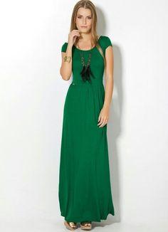 Vestido Longo Verde com Manguinhas - Posthaus