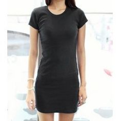 Ladylike Scoop Neck Solid Color Short Sleeves Women's Bodycon Dress