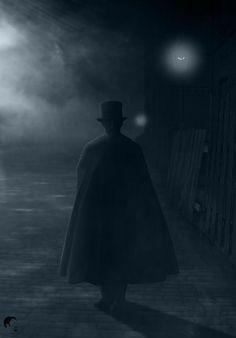 ~man in the fog Gothic Images, Gothic Art, Victorian Gothic, Victorian Street, My Fantasy World, Dark Fantasy, Sherlock Holmes, Jack Ripper, Looks Dark