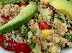 International Quinoa Salad  (cucumber, tomatoes, corn, jalapeño pepper, chickpeas, parsley, mint, scallions, avocado)