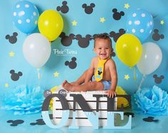 Baby Mickey Mouse Birthday cake smash outfit ears suspenders
