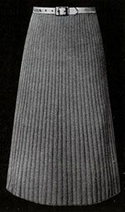 Narrow Ribbed Skirt knit pattern from Hand Knit Fashions, originally published by Bernhard Ulmann Co, Volume No. 341, in 1950.