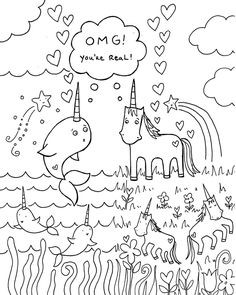 Cute My Little Unicorn Coloring Page