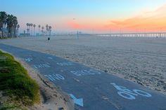 Venice Beachの自転車専用道路。  せっかくこういう道があるので、車をほっときたいですねー