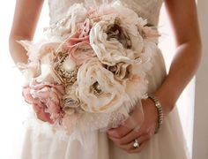 Wedding flower alternatives for bridal bouquets, from Etsy shabby chic. Not your traditional natural flower bouquet and lasts much longer! Feather Bouquet, Fabric Bouquet, Brooch Bouquets, Fabric Flowers, Lace Bouquet, Cloth Flowers, Fabric Brooch, Pearl Bouquet, Silk Flowers