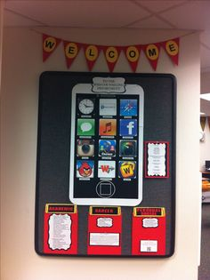 Counseling Office Bulletin Board. The apps represent the different services we provide to students: i.e. Angry Birds=Conflict Mediation, Facebook=Technology Safety, Instagram=Self Image, Clock=Time Management, Compass=Goal Setting, Text App=Communication Skills, Words With Friends=Social Skills etc. Also included services provided under the 3 ASCA Domains, Mission Statement, and a QR Code scanner to our website!