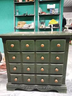 I have always loved the look of a old card catalog cabinet from a library... But holy moly are they expensive! I found the perfect piece to duplicate the look for cheap! I started with this inexpensive little dresser that had four drawers but looked like it had more. I definitely did not want the 1990s hunter green look. So...the transformation began! After cleaning the piece really well with a mixture of denatured alcohol and water.. I began painting. I love how the Retique It pa…