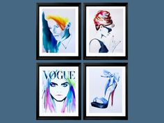 Fashion - Turn to the Left! Set of 4 Art Prints for the Fashionista Icons Rock Illustrations of Original Watercolor Paintings Salon Decor Teal Blue Highheels. Just a little reminder: Airmail from England to the USA usually only takes one to three weeks to arrive - not the four to six weeks Amazon states as the shipping time. In some very RARE cases it may take that long, but the normal delivery time frame is one to three weeks. Set of 4 Art Prints of original watercolor paintings from my...