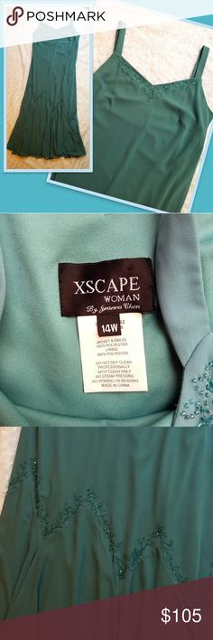 XSCAPE Women's gown Teal gown with bead work Xscape Dresses Maxi