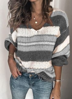 2019 Fashion V-neck Knitted Sweater Women Striped Print Plus Size Tops Pull Femme Casual Autumn Winter Knitwear Sweaters Jumpers Loose Knit Sweaters, Casual Sweaters, Winter Sweaters, Pullover Sweaters, Sweaters For Women, Vogue Knitting, Fall Knitting, Striped Knit, Long Sleeve Sweater