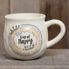"""This handcrafted mug is perfect for giving - bring a cup of HAPPY into your loved ones' lives!"""