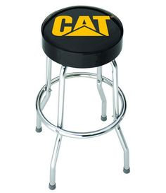 Caterpillar Garage Stool Plasticolor Padded Chrome Metal Bar Chair Black #Plasticolor