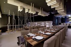 MyBar - Beirut, Lebanon. Collaboration with H-Group /// restaurant / ceiling mounted / custom design / steel / white powder coated /// contact us - pslab.net