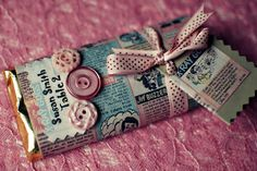 Custom DIY candy bar wrapper made from vintage comic books. I want to do this so bad!