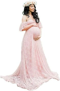 d04d7b4e63545 Amazon.com: ENINE Photography Maternity Dress Off Shoulder Lace Long Dress  Pregnant Wedding Dress