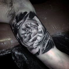 Glorious Grey Guys Pocket Watch Tattoo On Upper Arms - watches, old, cool, the horse, hublot, cheap watch *ad