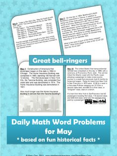 Thirty-one math word problems for grades 7-10, one for each day in May.  These timeless problems are based on historical events of the day.  Kids enjoy the interesting facts while practicing a variety of math skills.
