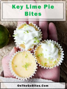 Our easy homemade key lime pie bites recipe is a mini treat that's easy to take on the go like for a picnic, school snack or office treat. A graham cracker crust makes for the best key lime pie base. Little mini key lime surprises. OnTheGoBites.Com #picnictreats #summertreats Key Lime Desserts, Mini Desserts, Dessert Recipes, Small Desserts, Picnic Recipes, Lemon Desserts, Mini Key Lime Pies, Best Key Lime Pie, Summer Snacks