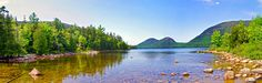 """panorama of Jordan Pond and the """"Bubble"""" Mountains in Acadia National Park, Maine"""